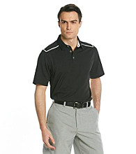 Callaway® Men's Black Caviar Short Sleeve Polo with Striped Shoulder