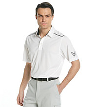 Callaway® Men's Bright White Short Sleeve Polo with Striped Shoulder
