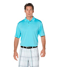 PGA Tour® Men's Blue Solid Mesh Polo
