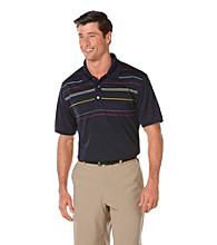 PGA TOUR® Men's True Navy Multi-Stripe Printed Polo