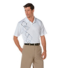 PGA TOUR® Men's Bright White Floating Argyle Printed Polo