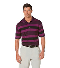 PGA TOUR® Men's Grape Juice Birdseye Rugby Striped Polo