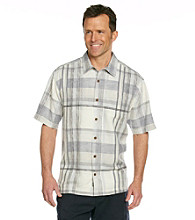 Tommy Bahama® Men's Filter Grey Short Sleeve Plaid Vallarta Woven