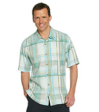 Tommy Bahama® Men's Canal Blue Short Sleeve Plaid Vallarta Woven