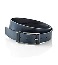 Calvin Klein® Men's Navy 32MM Flat Strap Leather Belt