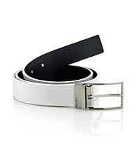 Calvin Klein® Men's White/Black 40MM Reversible Flat Strap Leather Belt