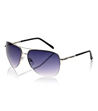 Kenneth Cole New York® Men's Silver Semi-Rimless Aviator Sunglasses