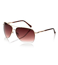 Kenneth Cole New York® Men's Gold Semi-Rimless Aviator Sunglasses
