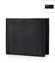 Lauren® Men's Black Burnished Leather Billfold Wallet