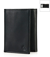 Lauren® Men's Black Burnished Leather Trifold Wallet
