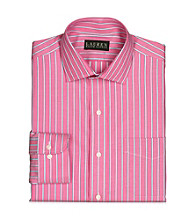 Lauren® Men's Pink/White Bennett Striped Cotton Broadcloth Dress Shirt