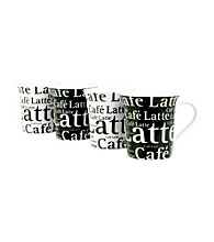 Waechtersbach Konitz Cafe Latte Writing Set of 4 Mugs