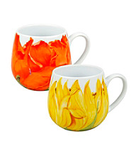 Waechtersbach Konitz Set of 2 Poppy and Sunflower Blossom Snuggle Mug