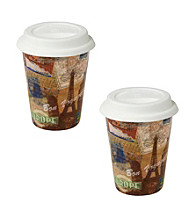 Waechtersbach Konitz Bon Voyage Set of 2 Travel Mugs