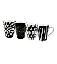 Waechtersbach Konitz Set of 4 Black and White Assorted Design Mugs