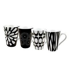 Waechtersbach Konitz Set of 4 Black and White Assorted Design Mugs *