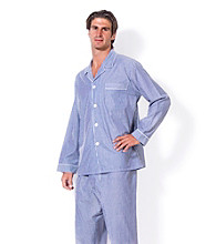 Majestic Men's Big & Tall Navy Bengal Stripe Pajama Set