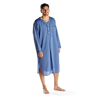 Buy mens nightshirts - Majestic Men\'s Blue \'Easy Care\' Night Shirt Men\'s