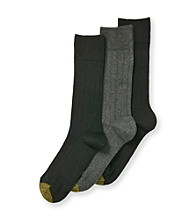 GOLD TOE® Men's Black/Charcoal 3-Pack Rib Knit Crew Socks