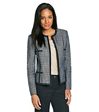 Kasper® Tweed Piped Flyaway Jacket