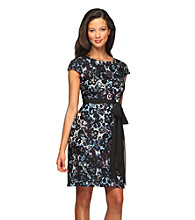 Alex Evenings® Lace Overlay Tie-Waist Dress
