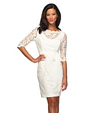 Alex Evenings® Lace Dress With Tie Belt