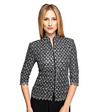 Alex Evenings® Mandarin Collar Lace Zip Jacket