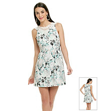 Kensie® Lace Collar Print Dress