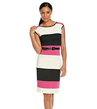 Sangria® Colorblock Belted Sheath Dress
