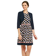 Jessica Howard® Petites' Print Knit Dress With Sweater