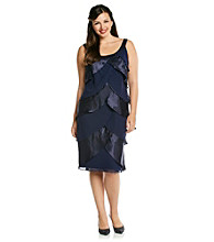 S.L. Fashions Plus Size Satin Chiffon Tiered Dress