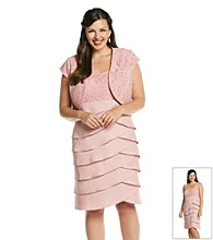 S.L. Fashions Plus Size Lace Tiered Jacket Dress