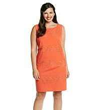 S.L. Fashions Plus Size Cotton Lace Sheath Dress