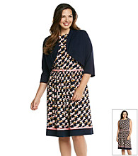 Jessica Howard® Plus Size Print Knit Dress With Sweater
