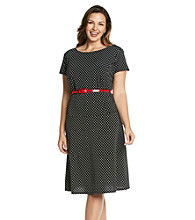 Jessica Howard® Plus Size Dot Print Belted Knit Dress