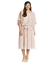 Jessica Howard® Plus Size Lace Blouson Peplum Dress