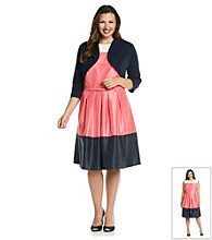 Jessica Howard® Plus Size Color Block Dress With Sweater