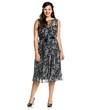 Jessica Howard® Plus Size Print Pintuck Ruffle Hem Dress