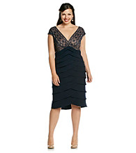 Jessica Howard® Plus Size Lace Surplice Shutter Dress