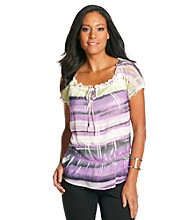 AGB® Sublimation Ombre Stripe Woven Top