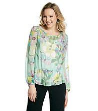 NY Collection Mint Floral Printed Woven Tunic