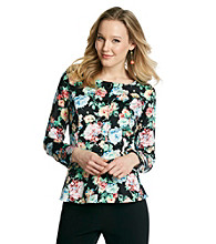 NY Collection Button-Up Floral Printed Jacket