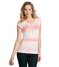 Relativity® Petites' Printed Short Sleeve Henley