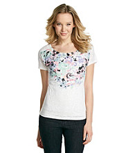 Relativity® Short Sleeve Boatneck Burnout Bouquet Tee