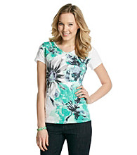 Relativity® Short Sleeve V-Neck Tee With Floral Graphic
