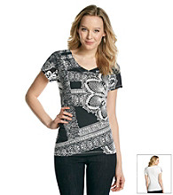 Relativity® Short Sleeve V-Neck Lace Graphic Tee