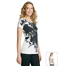 Relativity® Short Sleeve Scoopneck Painted Tee