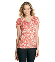 Relativity® Short Sleeve V-Neck Ruched Shoulder Burnout Tee