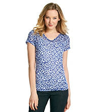 Relativity® Petites' Short Sleeve V-Neck Ruched Shoulder Burnout Tee