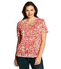 Relativity® Plus Size Short Sleeve V-Neck Ruched Shoulder Burnout Tee
